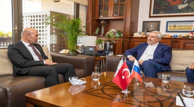 Rusya-Türkiye İş Konseyi heyetinden Başkan Soyer'e ziyaret Sanal fuarcılık konuşuldu